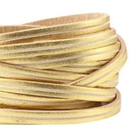 20 cm DQ leer plat 5mm Goud - beige