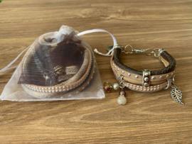 Workshoppakket DIY armband Brown Leaf 2