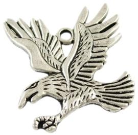 Tibetaans zilveren hanger van een adelaar 44 x 43 x 2mm gat: 3mm