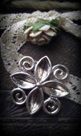 Per stuk Antiek zilveren metalen tussenzetsel bloemmotief 25 mm