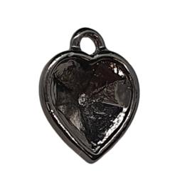 Houder V: DQ Cabochon houder hart vorm binnenzijde: 10 x 11mm gunmetal