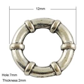 5 stuks gesloten metalen  boeiring 12 x 2mm gat: 7mm
