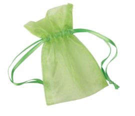 24 stuks organza zakjes 7x10cm Lime groen