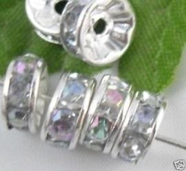 50 stuks Verzilverde Kristal Rondellen 4mm blank AB