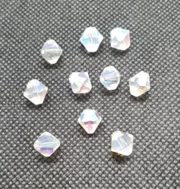 10 x ronde Tsjechië kraal kristal facet bicone c.a. 9mm kleur: melk transparant AB gat: 1mm