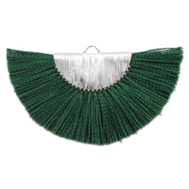 Kwastjes hanger Silver-dark classic green