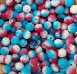 10x facetkralen wit/lichtblauw/roze/paars  8x8 mm Gat: 1 mm