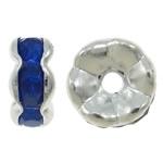 50 stuks Verzilverde Kristal Rondellen 7 mm blauw