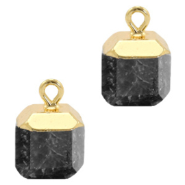 1 x Natuursteen hangers square Anthracite-gold Shimmer stone