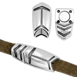 1 x Onderdelen DQ metaal magneetslot arrow voor 5mm leer Antiek zilver