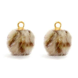 Nieuw! Pompom bedels Faux fur leopard Goud Brown 12mm