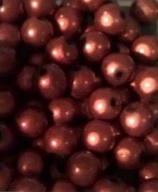 10 Stuks Kunststof kraal miracle bead bruin/oranje 8 mm