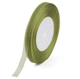 2 meter Organza lint 10mm breed per meter, moss groen