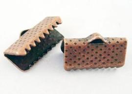 10 stuks lint of veterklemmen 13 x 7 x 5mm gat: 2mm roodkoper kleur