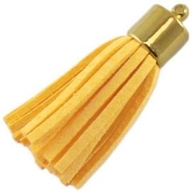 2 x Prachtig kwastje van suede  en messing goudkleur  45mm geel