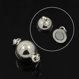 Magneetsluiting 8mm x 14mm gat: 2mm  verzilverd