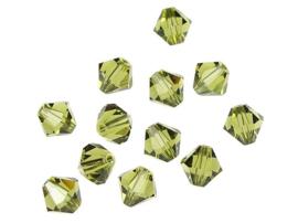 10 x Preciosa Kristal Bicone ca. 6mm gat: 1mm Olive