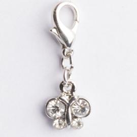 Be Charmed bedel vlinder met karabijnsluiting (zilver met een rhodium laag (nikkelvrij)