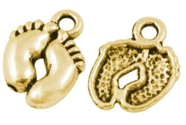 5 stuks tibetaans zilveren voetjes 14 x 10 x 2mm gat: 2mm goudkleur