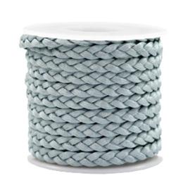 1 meter Trendy plat koord gevlochten silk style 5mm Blue mist