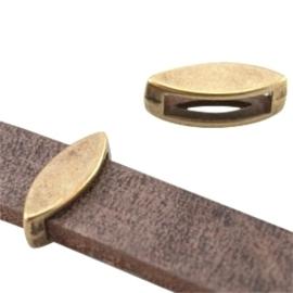 2 x DQ metaal schuiver ovaal (voor DQ leer plat 10mm) Antiek brons (nikkelvrij)