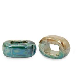 1 x C.U.S sieraden schuiver DQ Grieks keramiek 5x12mm Peacock green-beige brown