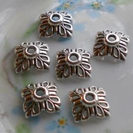 10 stuks tibetaans zilveren kralenkapjes 12 x 4mm, gat: 3mm