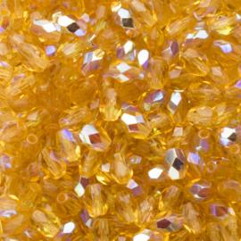 15 x  ovaal Tsjechië kristal facet kraal 7x4mm kleur: ab goud geel Gat c.a.: 1mm