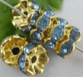 50 stuks vergulde Kristal Rondellen 8 mm blauw