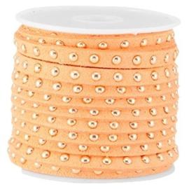 20 cm Imi. Suède leer 5mm met studs goud Bright coral