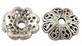 10 stuks Tibetaans zilveren kralenkapjes 12,8mm