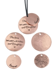 Metalen hangers/bedels met tekst 30mm en 21mm set rose gold