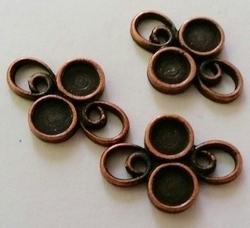 2 x  Antiek koperen metalen kastje 19 mm ruimte voor 4mm plaksteen