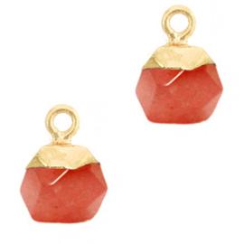 1 x Natuursteen hangers hexagon Crimsom red-gold Jade