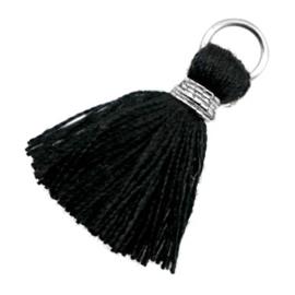 2 x Kwastjes Ibiza style 1.8cm Silver-black