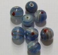 Per stuk Glaskraal India rond blauw gemeleerd 9 mm