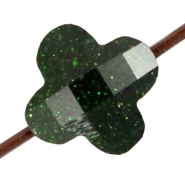 Fashion Facet kralen klaver Classic green glitter 10mm gat: 1mm