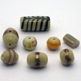 15 stuks glaskralenmix pastel kleurenmix