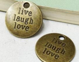 4 x Tibetaans zilveren ronde bedel live laugh love geel koper kleur 19 x 2mm gat: 2mm