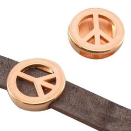 1 x DQ metaal schuiver peace (DQ leer plat 10mm) Rosé goud
