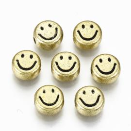 20 x Smiley kralen van acryl 7 x 3,5mm gat: 1,5mm antiek goud