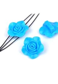 1 stuks Resin verdelers bloem ± 33x14mm met 3 gaatjes (gat ± 2mm) blauw