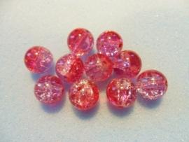 30 stuks crackle glas kralen 8mm roze rood