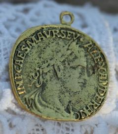 Grote Tibetaans zilveren vintage munt 35 x 31 x 1,5mm Gat 2mm Antique goud