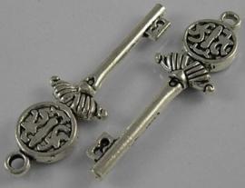 2 x Tibetaans zilveren sleutel 13 x 44mm Gat: 2,5mm