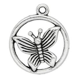 2 x Bedel Vlinder Antiek Zilver 24x23 mm