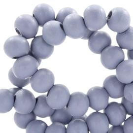 40 x Houten kralen rond 6 mm Cosmic sky lavender