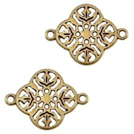 1 x DQ metalen tussenstuk Antiek brons 20x15 mm Ø 1 mm