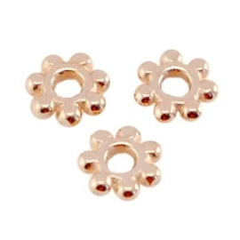 10 x DQ metaal kraal spacer Bali ring 5.6mm Rosé goud