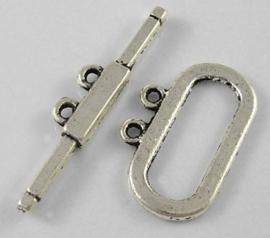 4 x Tibetaans zilveren slotje met twee oogjes ring: 14 x 22mm stang : 32mm gat: 1mm
